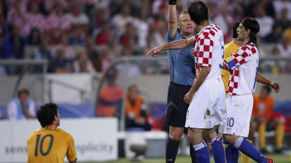 English referee Graham Poll wrote his name into the history books when he booked Josip Simunic three times during a 2006 World Cup group game between Croatia and Australia.