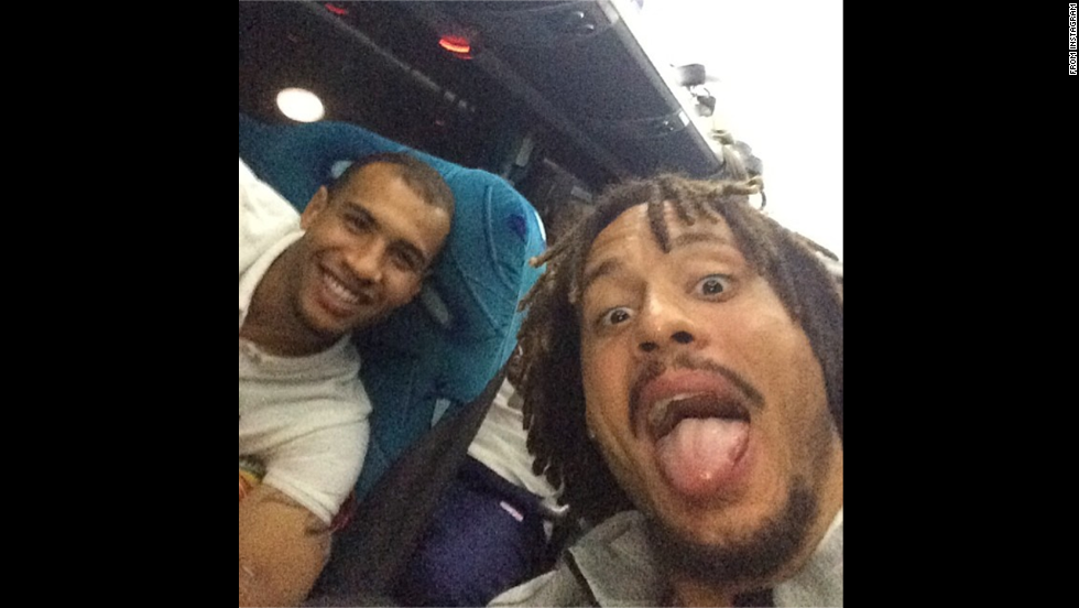 "Jermaine Jones, a midfielder on the United States national soccer team, posted this selfie to <a href=""http://instagram.com/p/pVAx_0KGWO/"" target=""_blank"">his Instagram account</a> Monday, June 16, hours after the United States won its World Cup opener against Ghana. Jones, right, is joined in the photo by John Brooks, who scored the winning goal in the last few minutes of the match."