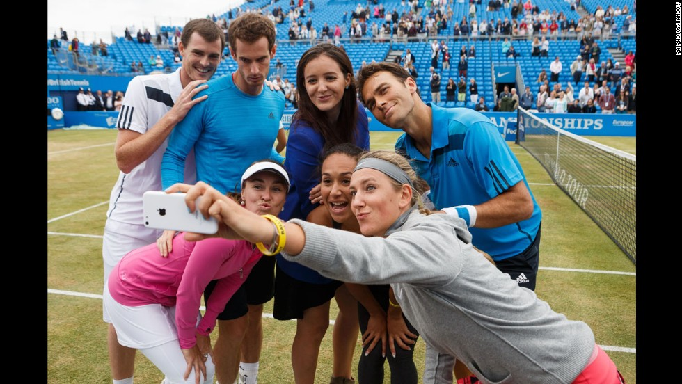 Victoria Azarenka takes a selfie of her and other tennis stars, past and present, who took part in the Rally for Bally exhibition match Thursday, June 12, at the Aegon Championships in London. From left in the back row are Jamie Murray, Andy Murray, Laura Robson and Ross Hutchins. From left in the front row are Martina Hingis and Heather Watson.