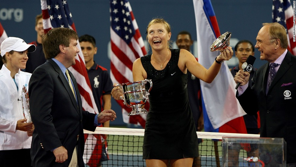 Sharapova enjoys a joke following her U.S. Open victory against Justine Henin of Belgium in 2006. She finished the season ranked world No. 2 -- her best end-of-year finish to date.