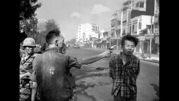 "Eddie Adams photographed South Vietnamese police chief Gen. Nguyen Ngoc Loan killing Viet Cong suspect Nguyen Van Lem in Saigon in 1968. Adams later regretted the impact of the Pulitzer Prize-winning image, apologizing to Gen. Nguyen and his family. ""I'm not saying what he did was right,"" Adams wrote in Time magazine, ""but you have to put yourself in his position."""