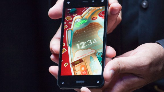 Amazon.com's first smartphone, the Fire, is displayed during the company's launch event on June 18, 2014 in Seattle, Washington.