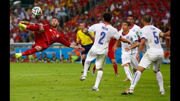 Sergio Ramos attempts a shot on goal.