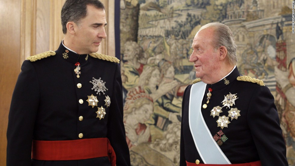 "Spain's King Felipe VI, left, promises a monarchy for ""new times"" following the abdication of his father, Juan Carlos. Here, father and son attend a ceremony Thursday, June 19, in Madrid before the new king's official coronation. Click through to see other European royal heirs:"
