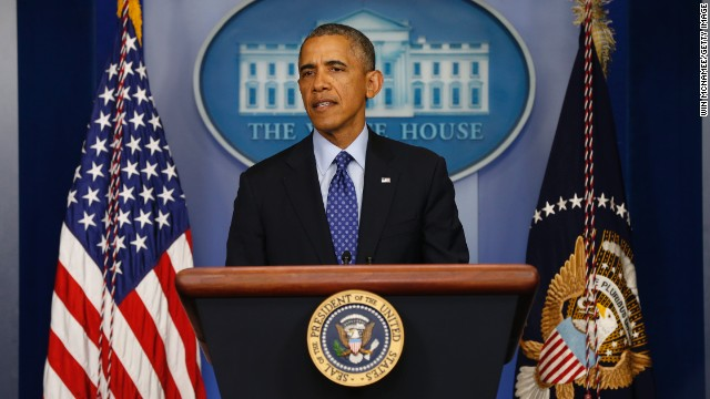 U.S. President Barack Obama speaks about Iraq in the Brady Briefing room of the White House on June 19, 2014 in Washington, DC.
