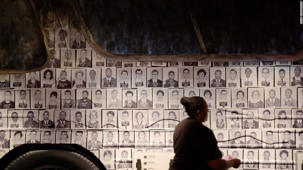 Mug shots of the Freedom Riders are affixed to the side of a bus at the museum. The Freedom Riders were an interracial group of civil rights activists who risked their lives by riding passenger buses together through the segregated Deep South.