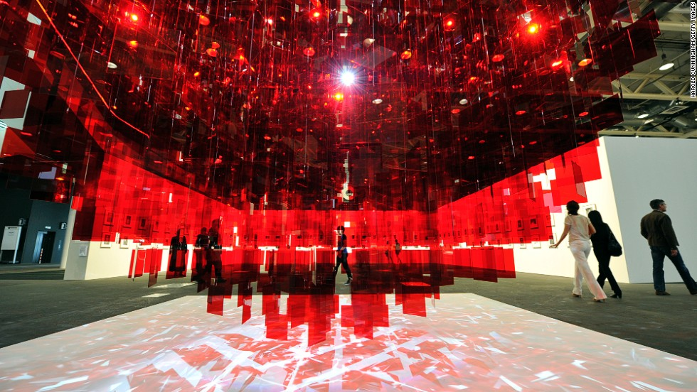 "<em>""Continuel Mobile - Sphere rouge"" (2001 - 2013) by French-Argentinean artist Julio Le Parc</em><br /><br />The Unlimited sector is where works whose size transcends the limits of a traditional art fair booth are housed, and their full scale and impact can be taken in."