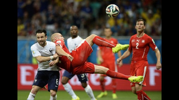 Switzerland midfielder Valentin Stocker kicks the ball.
