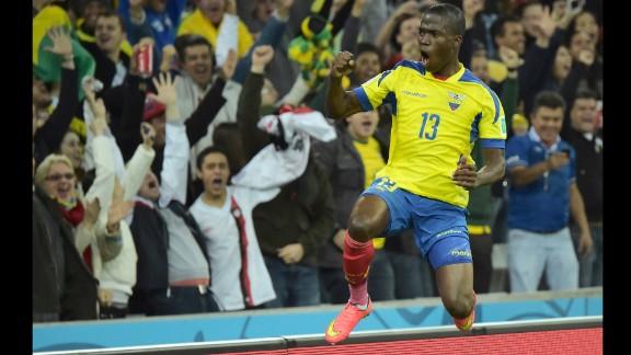 Ecuador forward Enner Valencia celebrates after scoring during.
