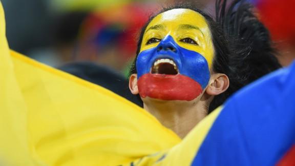 An Ecuador fan enjoys the atmosphere during the match.
