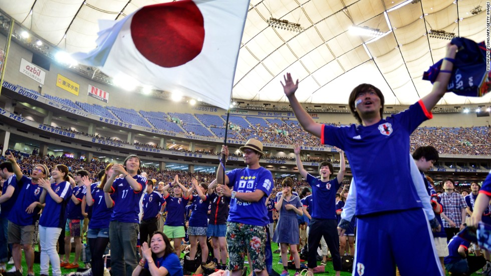 Japan's NHK broadcast of the game against the Ivory Coast received 34.1 million viewers, almost double the number from the network's second largest sporting event of 2014. Football in Japan has become hugely popular after it co-hosted the 2002 event.