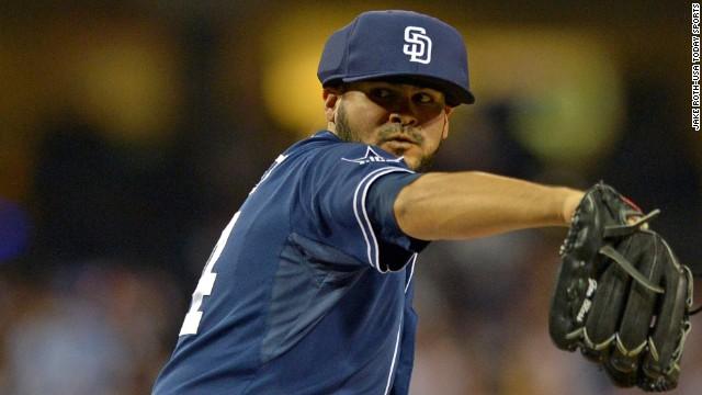 325c69b3c0c San Diego Padres pitcher Alex Torres wears a protective cap Saturday  against the Los Angeles Dodgers