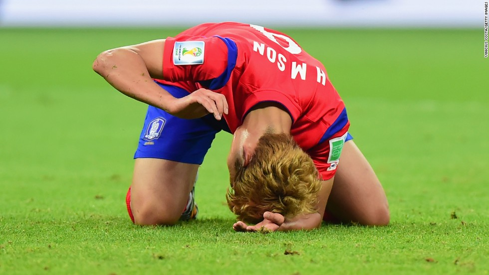 Son Heung-min of South Korea reacts after losing to Algeria.