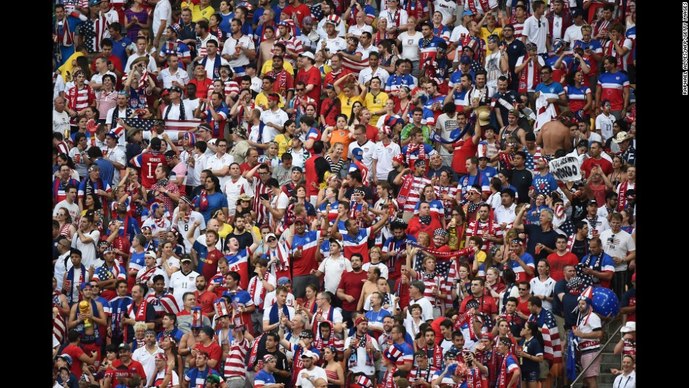 United States supporters gather at the Arena Amazonia in Manaus, Brazil. Broadcasters said the heat and humidity were oppressive.