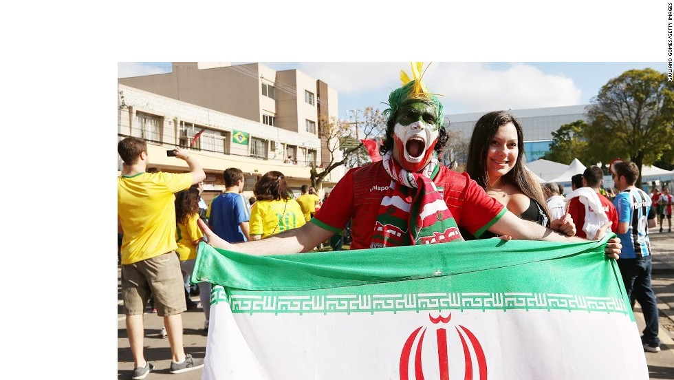 Two fans get ready to enjoy the excitement at the 2014 World Cup in Brazil.