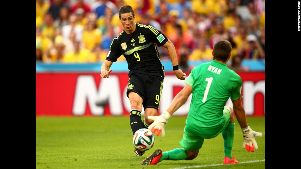 "Spain disappointed in the 2014 World Cup, exiting after only two games, but Torres was on target against Australia in their final Group B match in Curitiba -- his last of 110 international appearances, and his 38th goal for ""La Roja."""