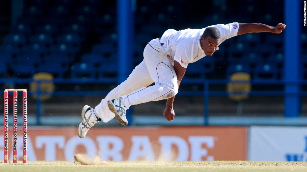 West Indies fast bowler Shannon Gabriel bowls during a cricket test match against New Zealand in Port of Spain, Trinidad, on Thursday, June 19.