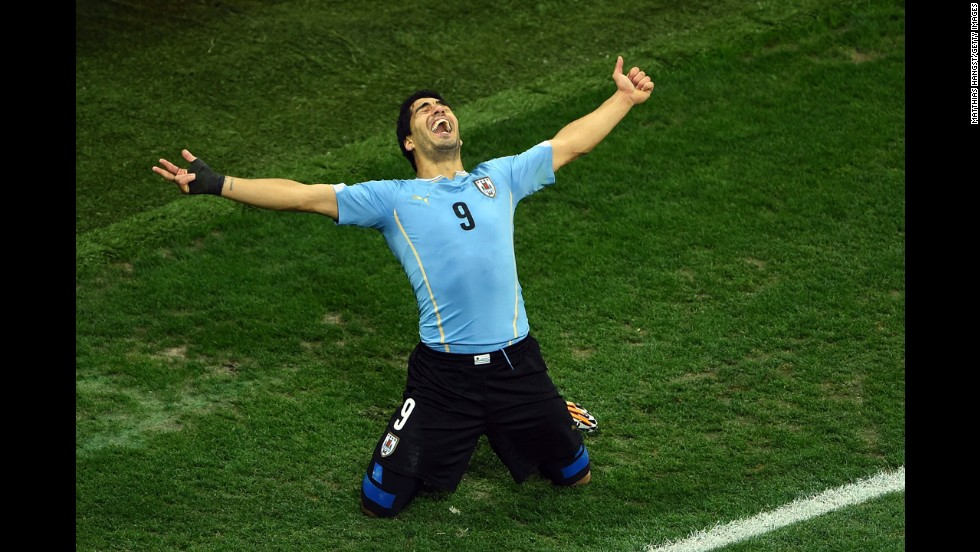 "Luis Suarez of Uruguay celebrates after scoring his team's second goal against England during <a href=""http://www.cnn.com/2014/06/19/sport/football/football-world-cup-england-uruguay/index.html"">a World Cup match</a> on Thursday, June 19, in Sao Paulo. Uruguay won 2-1. <a href=""http://www.cnn.com/2014/06/17/worldsport/gallery/what-a-shot-0617/index.html"">See 48 amazing sports photos from last week</a>"