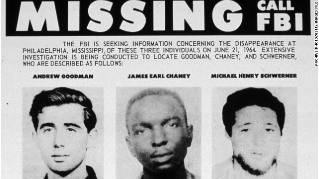 The 1964 FBI flyer for the missing civil rights students James Chaney, Andrew Goodman and Michael Schwerner.
