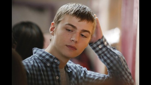"On the NBC drama ""Parenthood,"" shy teen Drew (played by Miles Heizer) finds out girlfriend Amy (Skyler Day) is pregnant and supports her through her decision to have an abortion, even though he had told his sister that part of him wanted to stick out the pregnancy. At the end of the episode, Drew is seen crying in his mother's arms."