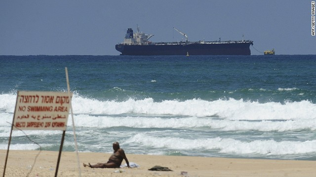 The SCF Altai tanker, carrying crude oil from Iraq's Kurdish region, anchors near Ashkelon in southern Israel on Sunday.