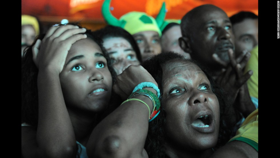 Brazil supporters watch the Brazil-Mexico game in Rio de Janeiro on Tuesday, June 17. It was a 0-0 draw.
