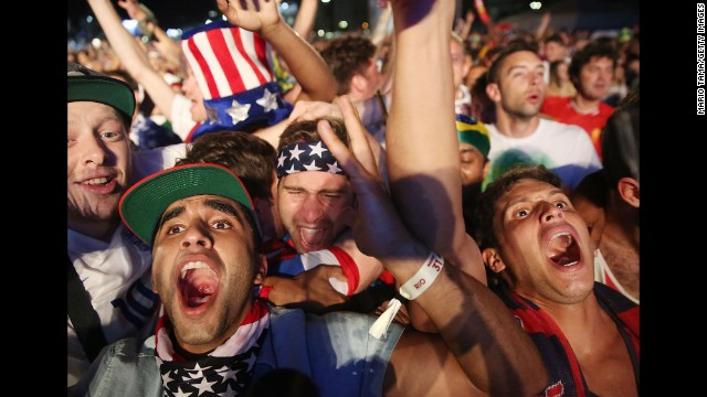 Fans celebrate after the United States score a second goal against Portugal on June 22.