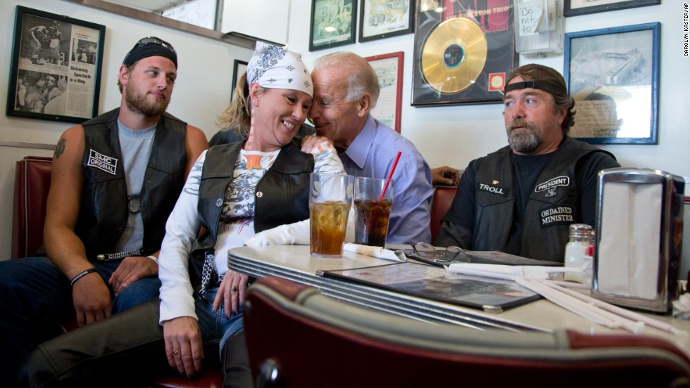 Most of what Joe Biden does comes off as relatable. But when you are vice president of the United States and a photo of you at a diner in Ohio looks like you are whispering sweet nothings in someone's ear, the imagery might be a bit too Joe.