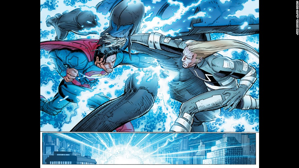 Superman and the new character Ulysses fight a new threat on pages 19 and 20.
