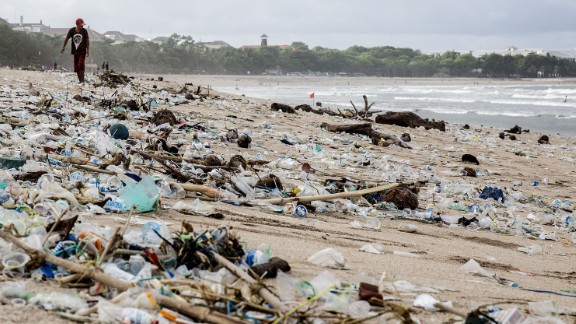 Single-use plastic has become synonymous with polluted beaches like this one in Indonesia.