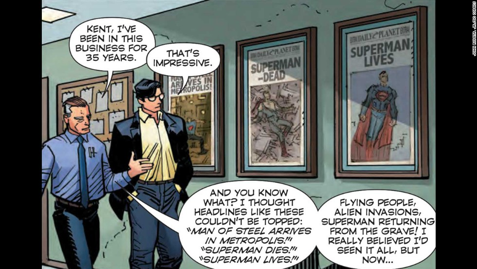 "Clark, who <a href=""http://www.cnn.com/2012/10/24/showbiz/superman-quits-job/"">quit the Daily Planet</a>, is being wooed back by Perry."