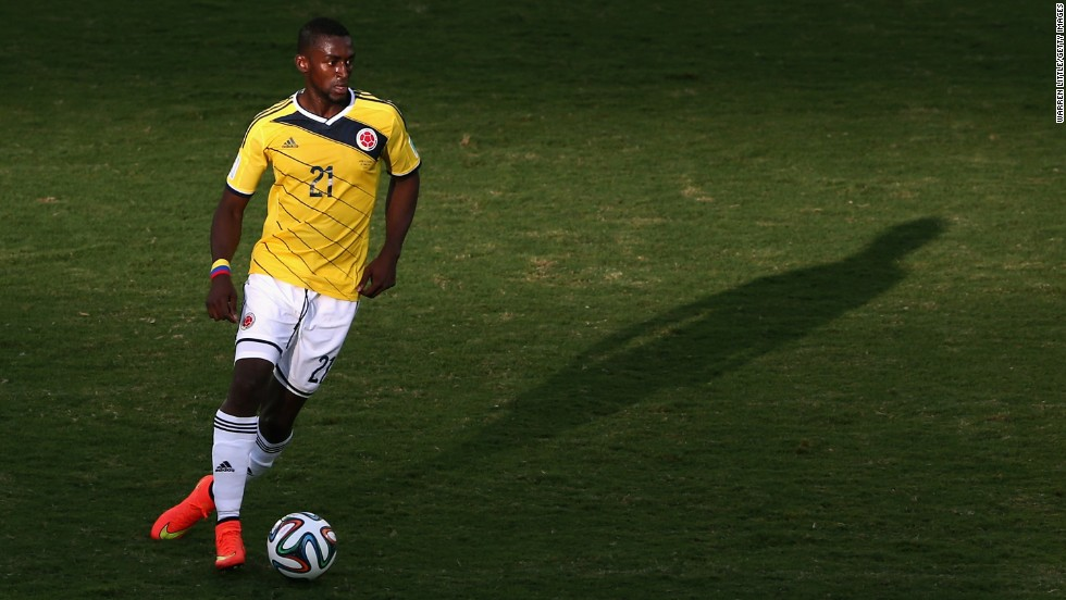Jackson Martinez of Colombia controls the ball.