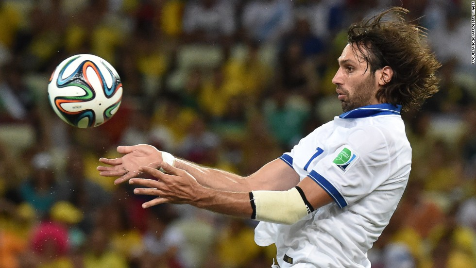Greece's Georgios Samaras controls the ball.