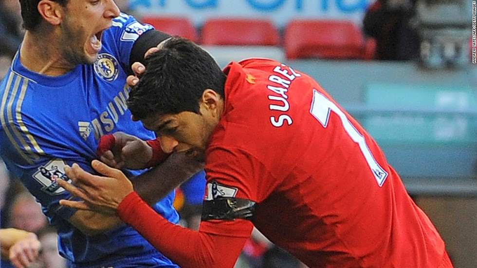 Luis Suarez received a ten-match ban for biting Chelsea's Branislav Ivanovic in 2013.