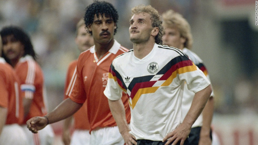 A hair-raising moment in the 1990 World Cup when Frank Rijkaard (L) twice spat in German Rudi Voller's hair. Both men were sent off in a bubbling encounter fueled by a historically fierce rivalry between the Netherlands and West Germany.