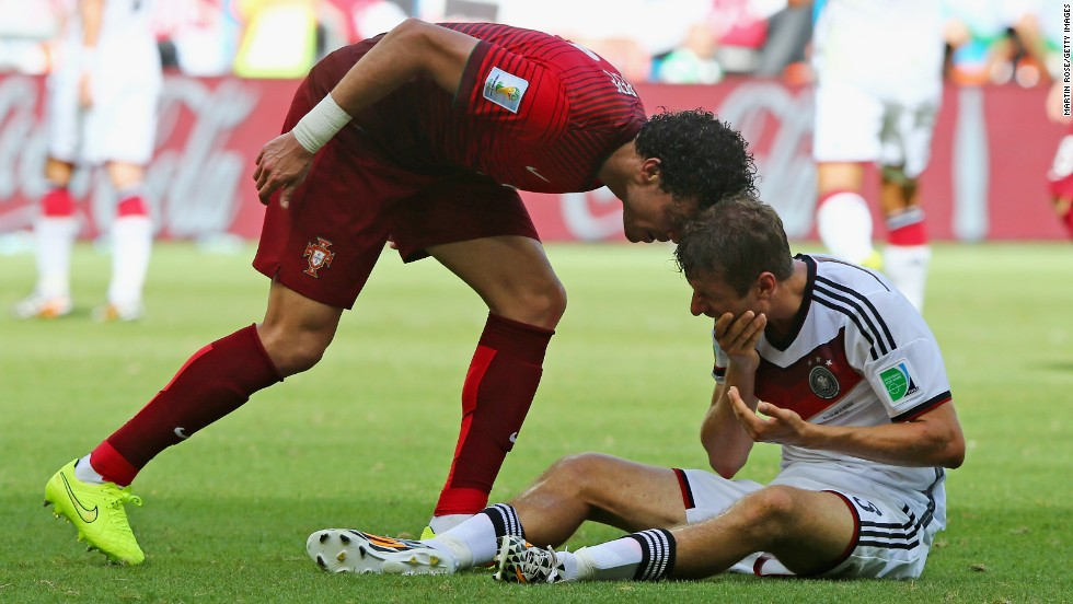 Suarez is not the first player to behave badly at Brazil 2014. Portugal's Pepe literally sees red when he headbutts Germany's Thomas Mueller in a Group G match.