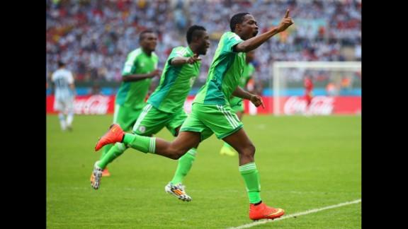 Nigeria forward Ahmed Musa celebrates scoring his team's second goal against Argentina.