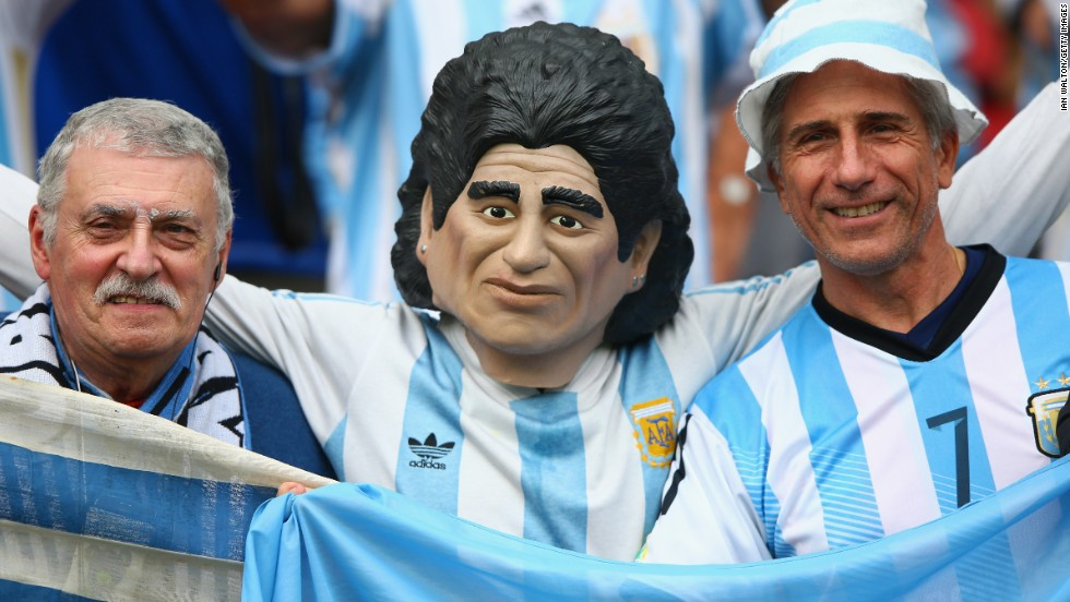 Despite his controversial career, Maradona remains hugely popular among Argentina's fans, who showed their colors ahead of the 2014 World Cup Group F match against Nigeria in Porto Alegre, Brazil.