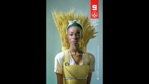 Teen Triti Lancaster's outfit incorporates wheat since she represents District 9, the Grain District.