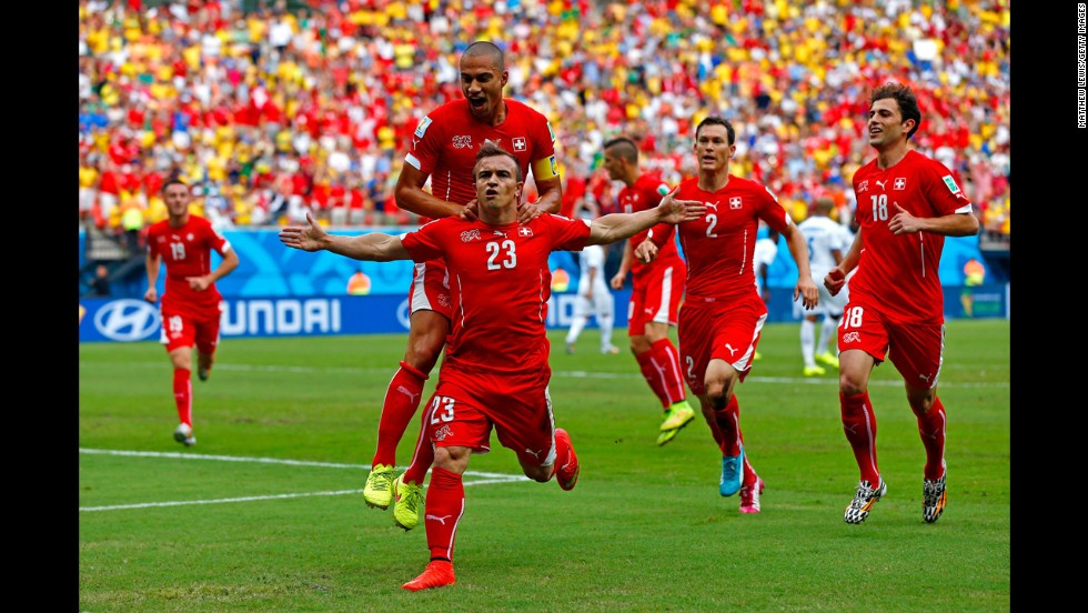 Shaqiri celebrates scoring his team's first goal against Honduras.