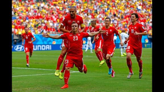 Shaqiri celebrates scoring his team's first goal against Honduras.