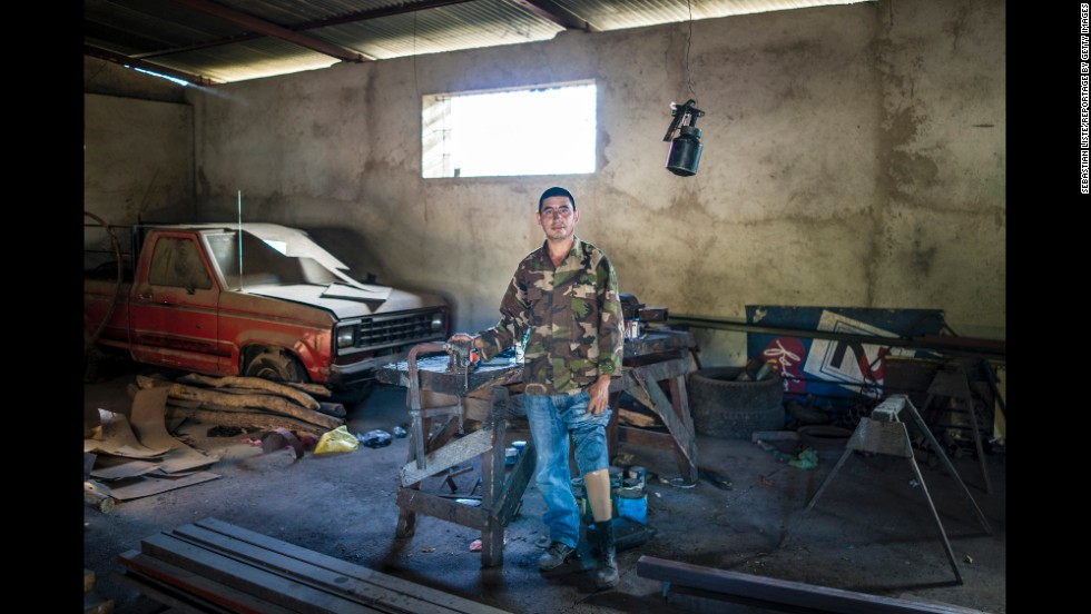 José Luís López Casas lost his left leg to a land mine near the Nicaragua-Honduras border in 1987. Now he works as an industrial mechanic.
