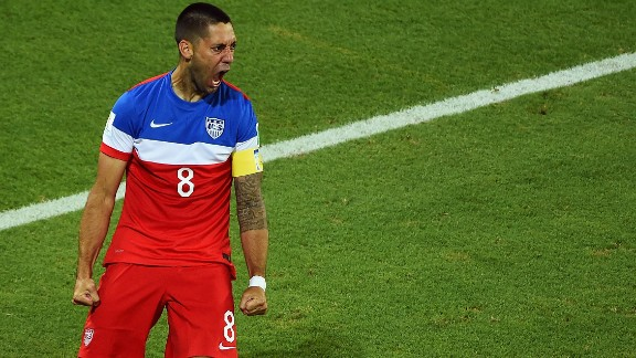 NATAL, BRAZIL - JUNE 16: Clint Dempsey of the United States celebrates after scoring his team's first goal during the 2014 FIFA World Cup Brazil Group G match between Ghana and the United States at Estadio das Dunas on June 16, 2014 in Natal, Brazil.