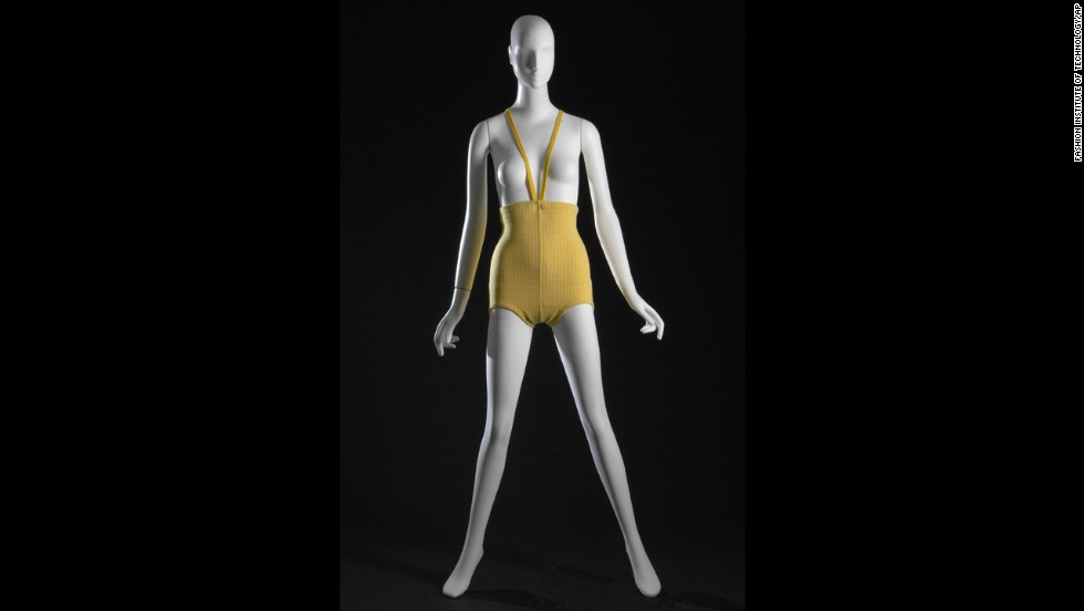 "Avant garde fashion designer Rudi Gernreich's beachwear turned heads in the summer of 1964. His ""monokini,"" pictured here in yellow and white wool, was a topless suit for women that garnered a moment of high-fashion attention before becoming the stuff of museum exhibitions."