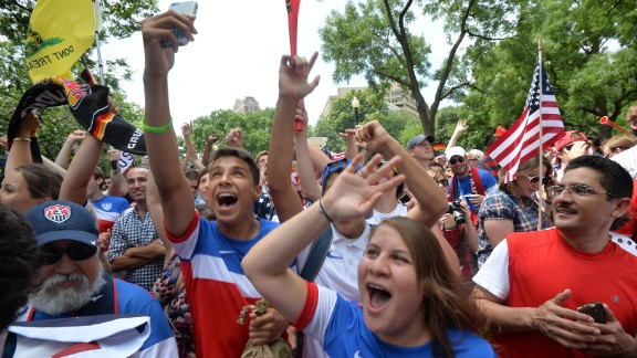 U.S. fans cheer before the game at Dupont Circle in Washington.