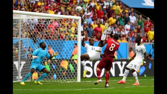 John Boye of Ghana gives up an own-goal against Portugal.