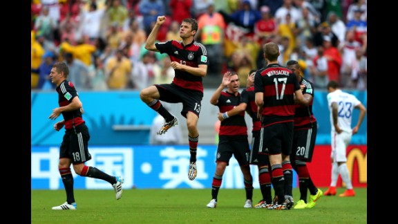 Thomas Mueller leaps in celebration after scoring what would be the only goal in Germany