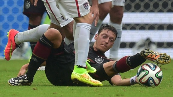 Germany midfielder Mesut Ozil vies for the ball during the match between U.S. and Germany.