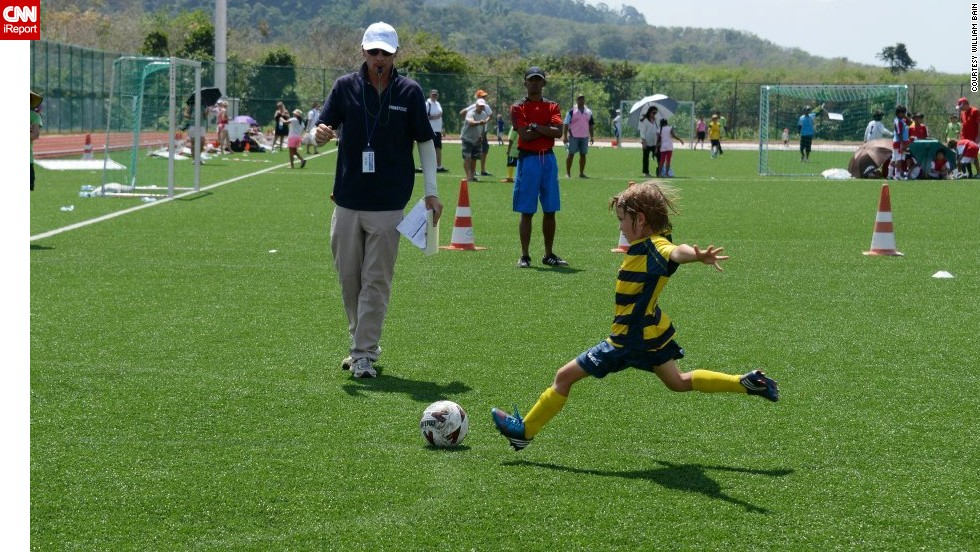 "William Hyndman<a href=""http://ireport.cnn.com/docs/DOC-1142690""> flies through the air</a> as he approaches the ball at a tournament in Phuket, Thailand. ""William currently plays on a soccer team with teammates from Singapore, England, Japan, Australia, Romania, Canada and India,"" said his mom, Tracy. ""Our mutual passion for soccer has brought this unlikely group together."""