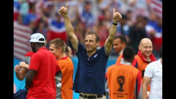 Head coach Jurgen Klinsmann of the United States acknowledges the fans after his team